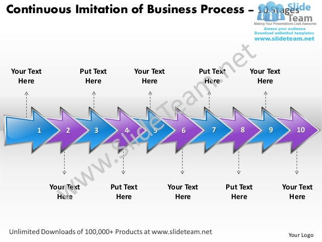 Business power point templates continuous imitation of process using 10 stages sales ppt slides