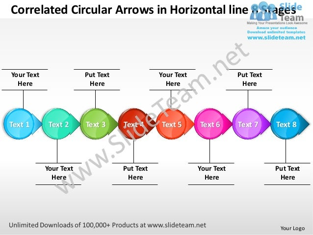 Correlated Circular Arrows in Horizontal line 8 StagesYour Text               Put Text              Your Text             ...