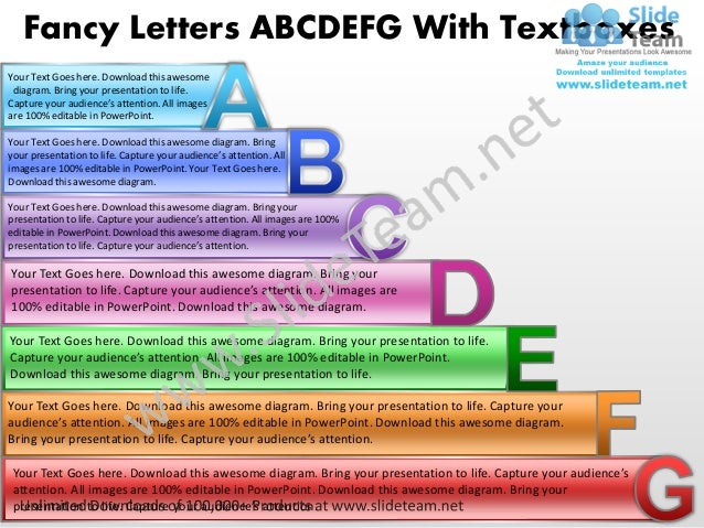Business power point templates fancy letters abcdefg with textboxes sales ppt slides