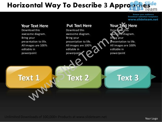 Business power point templates horizontal way to describe 3 approaches sales ppt slides