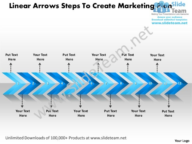 Linear Arrows Steps To Create Marketing PlanPut Text          Your Text          Put Text           Your Text         Put ...