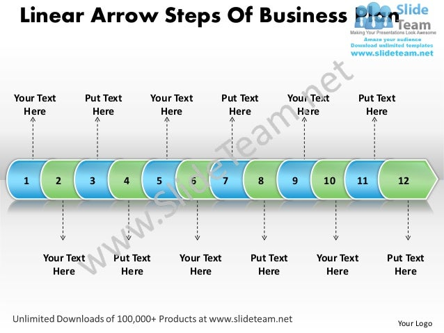 Business power point templates linear arrow steps of plan sales ppt slides