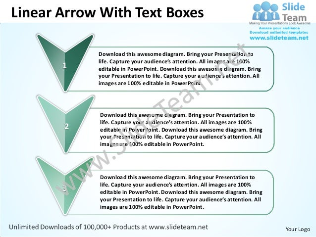 Business power point templates linear arrow with text boxes sales ppt slides