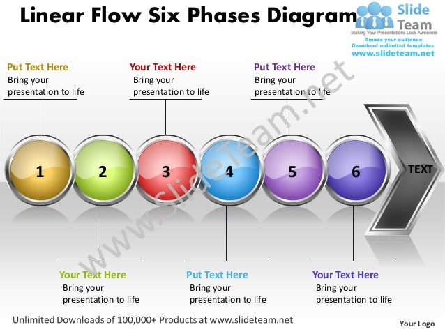 business power point templates linear flow six phases diagram free sa. Black Bedroom Furniture Sets. Home Design Ideas