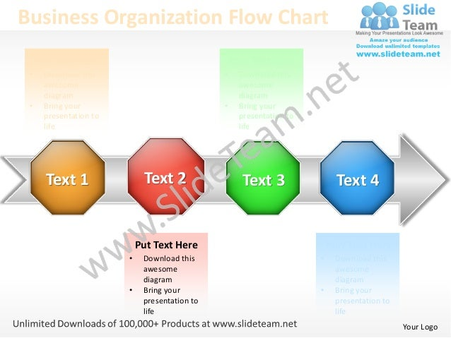 Business Organization Flow Chart     Put Text Here                                 Your Text Here •    Download this      ...
