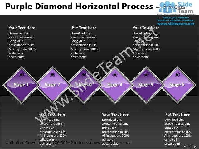 Business power point templates purple diamond horizontal process 6 steps sales ppt slides