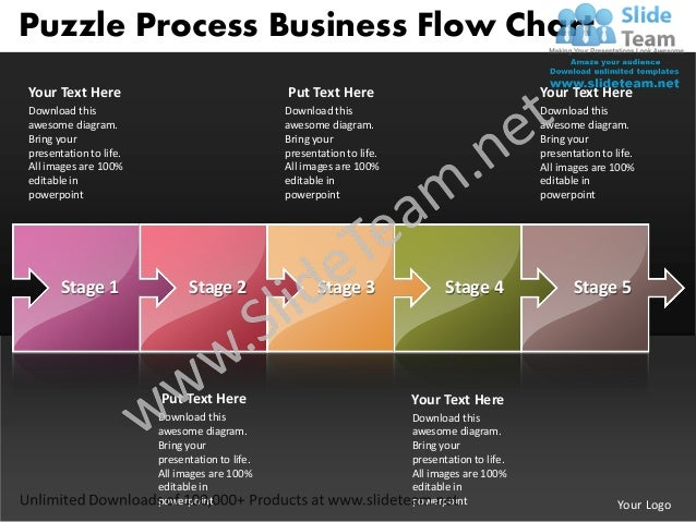 Puzzle Process Business Flow ChartYour Text Here                                  Put Text Here                           ...
