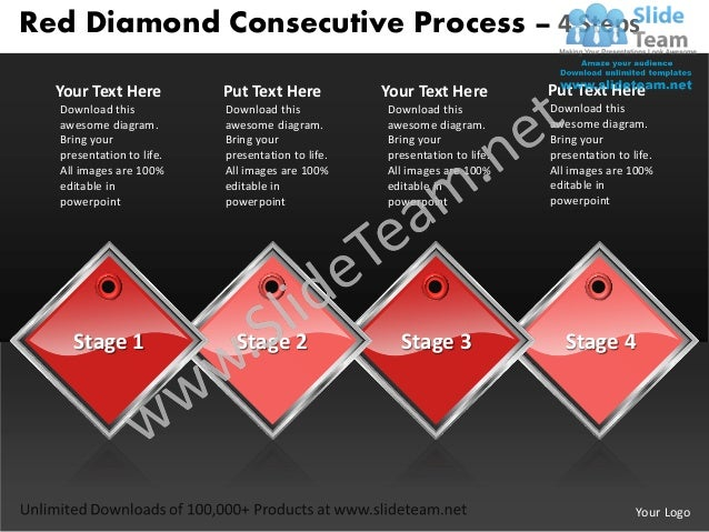 Business power point templates red diamond consecutive process 4 steps sales ppt slides