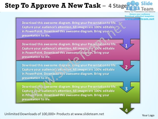 Business power point templates steps to approve new task sales ppt slides
