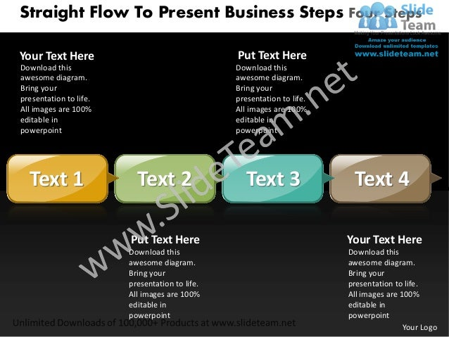 Business power point templates straight flow to present steps four sales ppt slides
