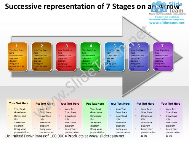 Business power point templates successive representation of 7 stages an arrow sales ppt slides
