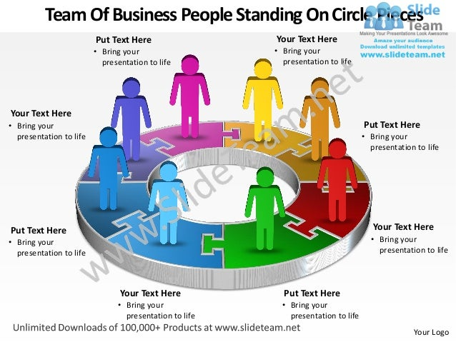 business power point templates team of people standing on pie chart p. Black Bedroom Furniture Sets. Home Design Ideas