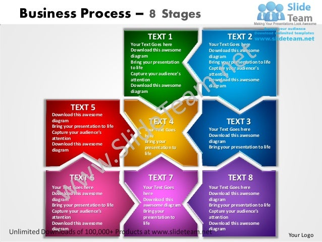 Business process 8 stages powerpoint templates 0712