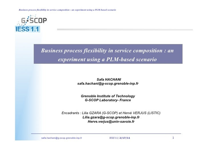 Business process flexibility in service composition : an experiment using a PLM-based scenario                     Busines...