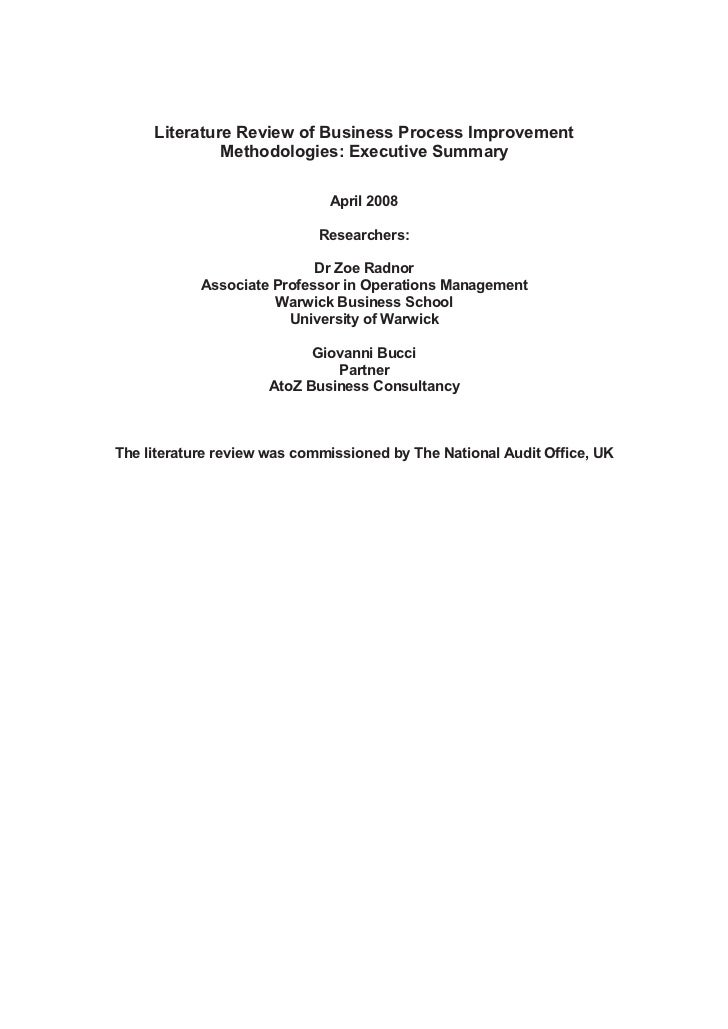Literature Review of Business Process Improvement              Methodologies: Executive Summary                           ...