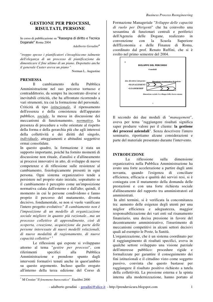 Business Process Reengineering           GESTIONE PER PROCESSI,                                    Formazione Manageriale ...