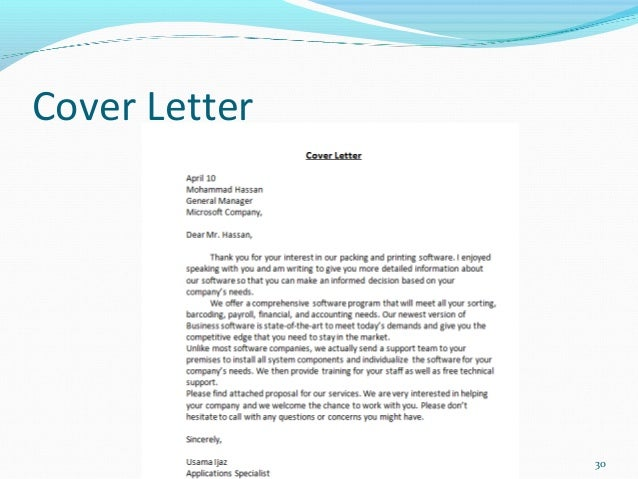 Sales Proposal Cover Letters
