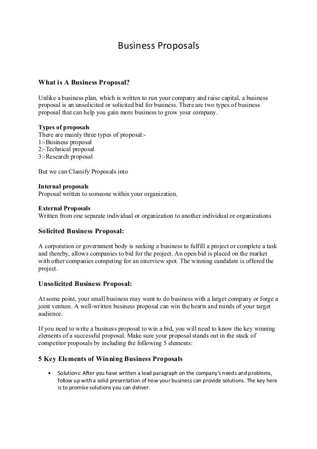 Business proposal for