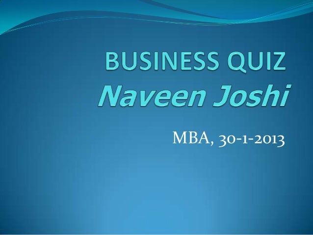 MBA, 30-1-2013