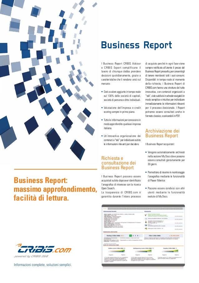 I Nostri Prodotti: BUSINESS REPORT