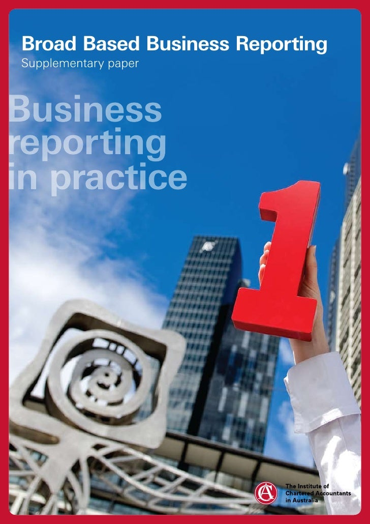 Broad Based Business Reporting Supplementary paper    Business reporting in practice