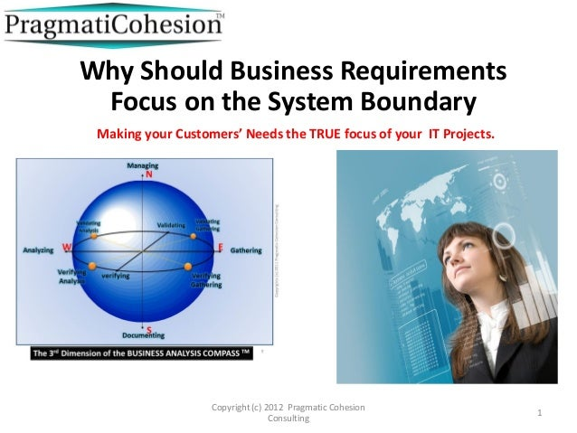 Copyright (c) 2012 Pragmatic CohesionConsulting1Why Should Business RequirementsFocus on the System BoundaryMaking your Cu...