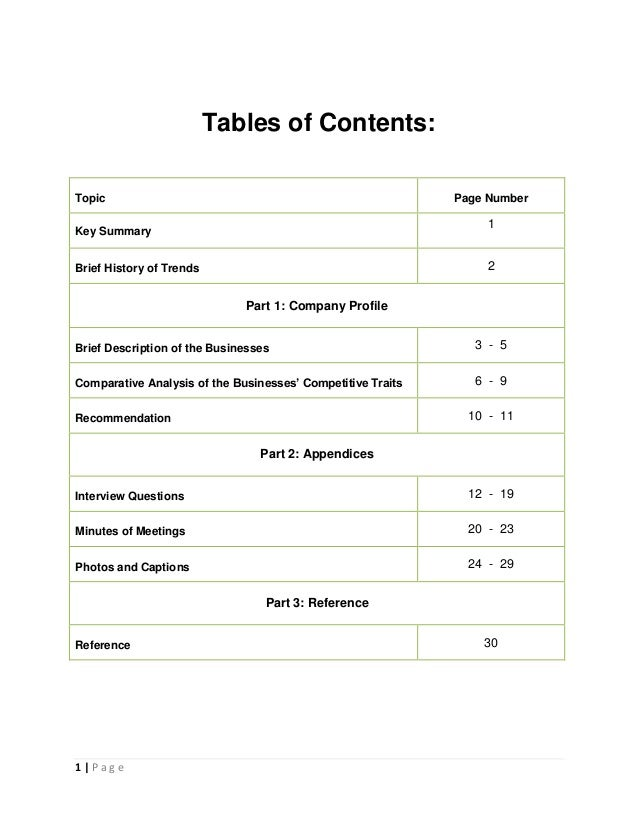 Assignment Page Numbering Page Number Key Summary 1