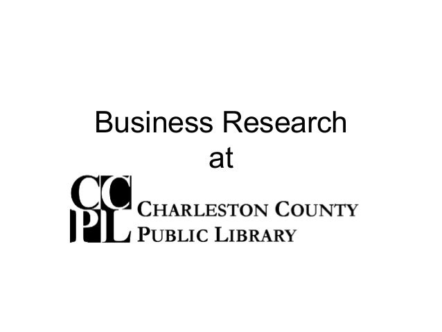 Business Research at Charleston County Public Library