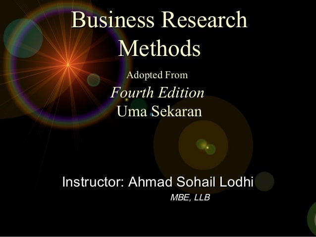 Business ResearchBusiness Research MethodsMethods Adopted FromAdopted From Fourth EditionFourth Edition Uma SekaranUma Sek...