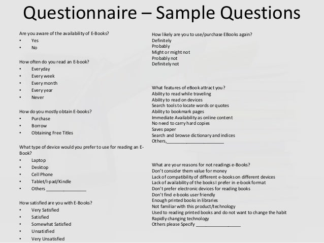 thesis questionairres
