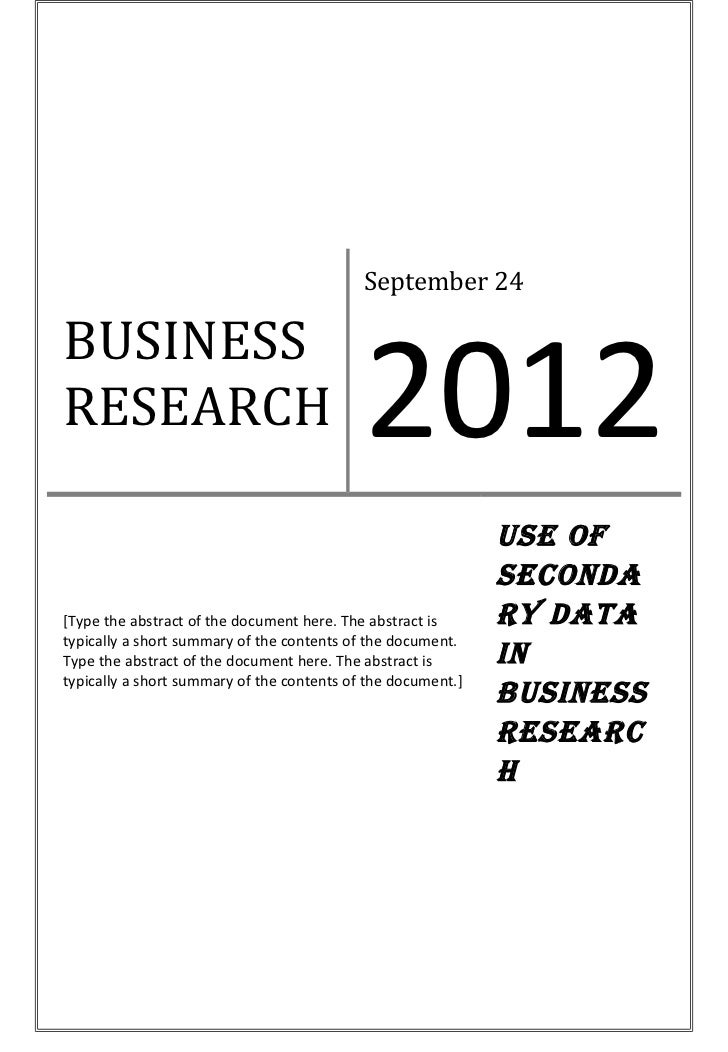 B usiness research report