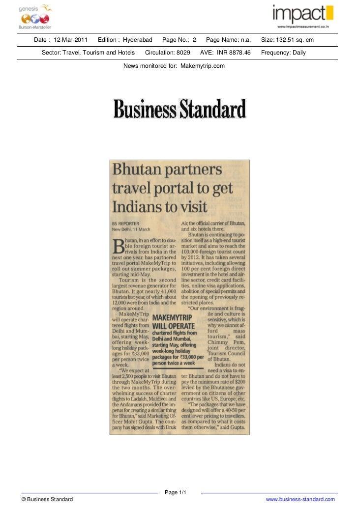 Bhutan partners travel partners to get Indians to visit- Business Standard
