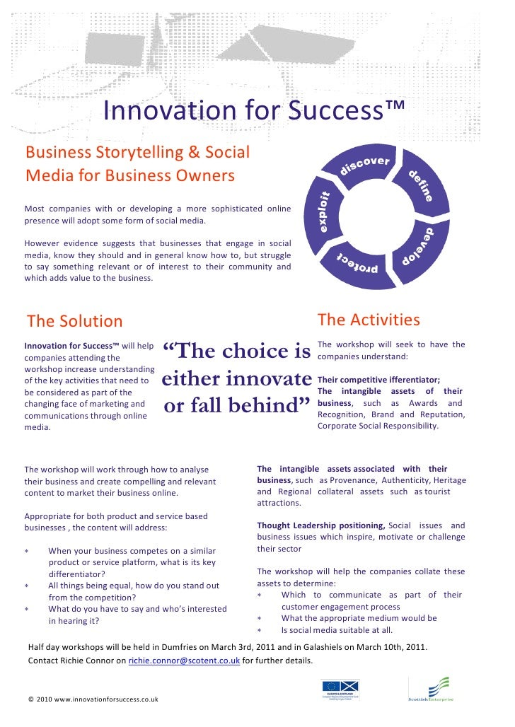 Innovation for Success™Business Storytelling & SocialMedia for Business OwnersMost companies with or developing a more sop...