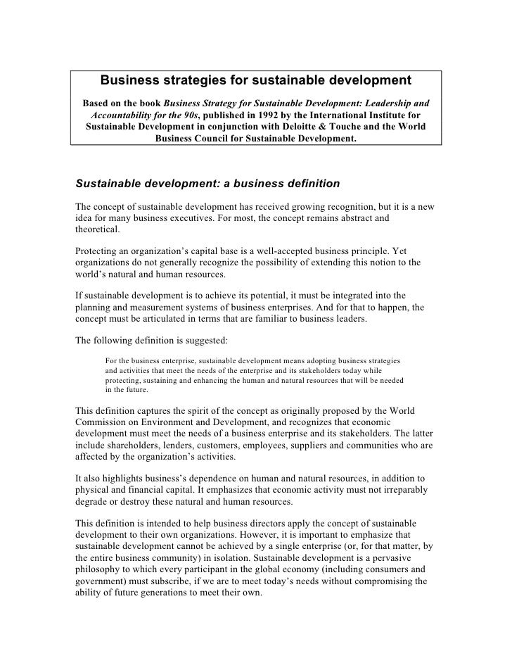 Business strategies for sustainable development Based on the book Business Strategy for Sustainable Development: Leadershi...