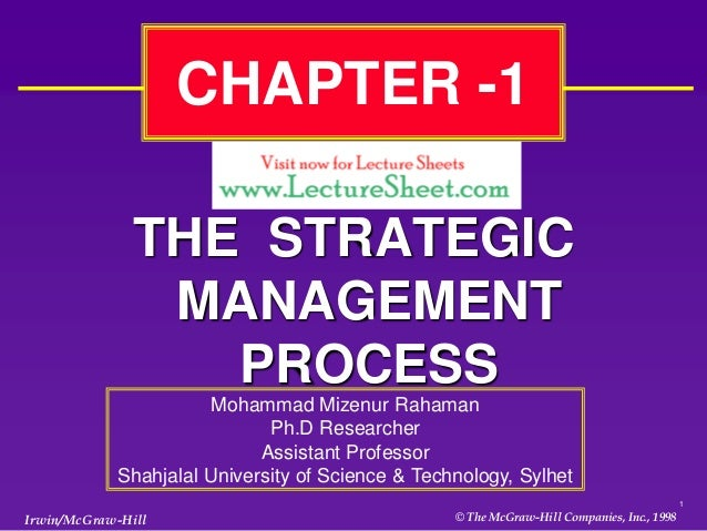 CHAPTER -1               THE STRATEGIC                MANAGEMENT                  PROCESS                      Mohammad Mi...
