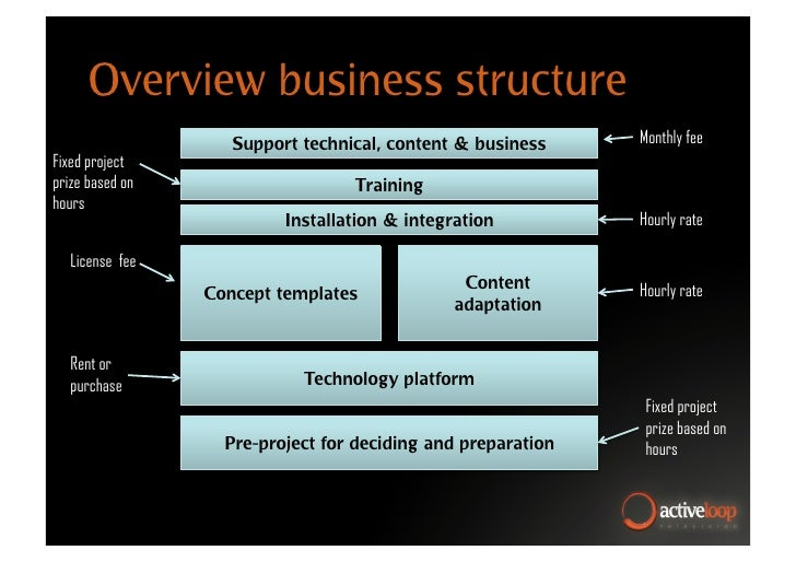 Overview business structure                     Support technical, content & business     Monthly fee Fixed project prize ...