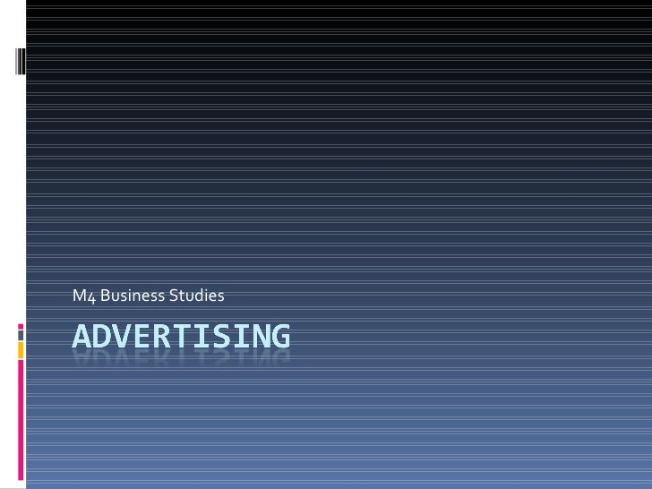 M4 - Business Studies - Advertising
