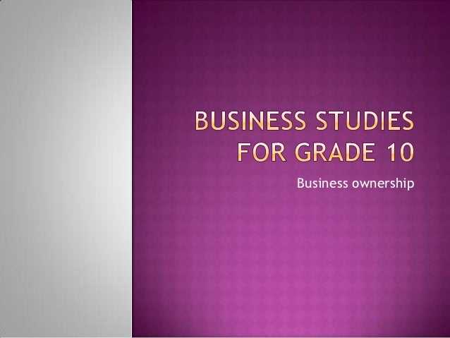 Business studies for grade 10