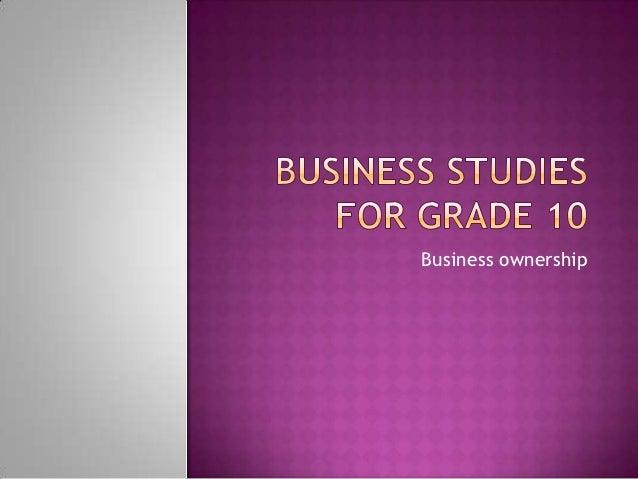 Business studies for grade 10