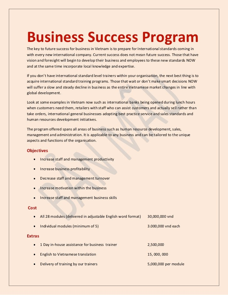 Business Success ProgramThe key to future success for business in Vietnam is to prepare for International standards coming...