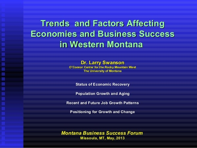 Trends and Factors AffectingTrends and Factors AffectingEconomies and Business SuccessEconomies and Business Successin Wes...
