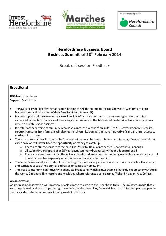 Herefordshire Business Board Business Summit of 28th February 2014 Break out session Feedback Broadband HBB Lead: John Jon...