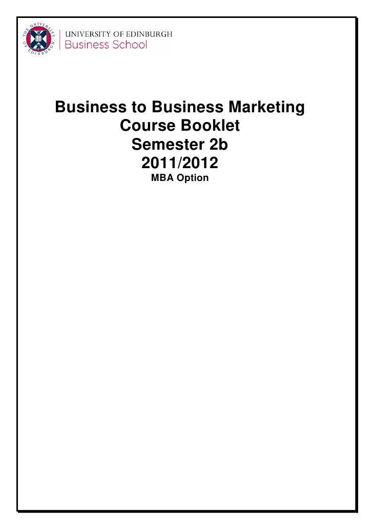 Business to Business Marketing       Course Booklet         Semester 2b          2011/2012           MBA Option