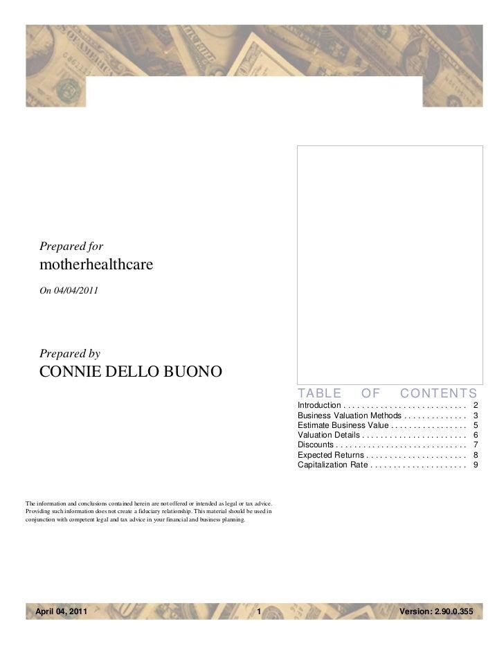 Prepared for     motherhealthcare     On 04/04/2011     Prepared by     CONNIE DELLO BUONO                                ...