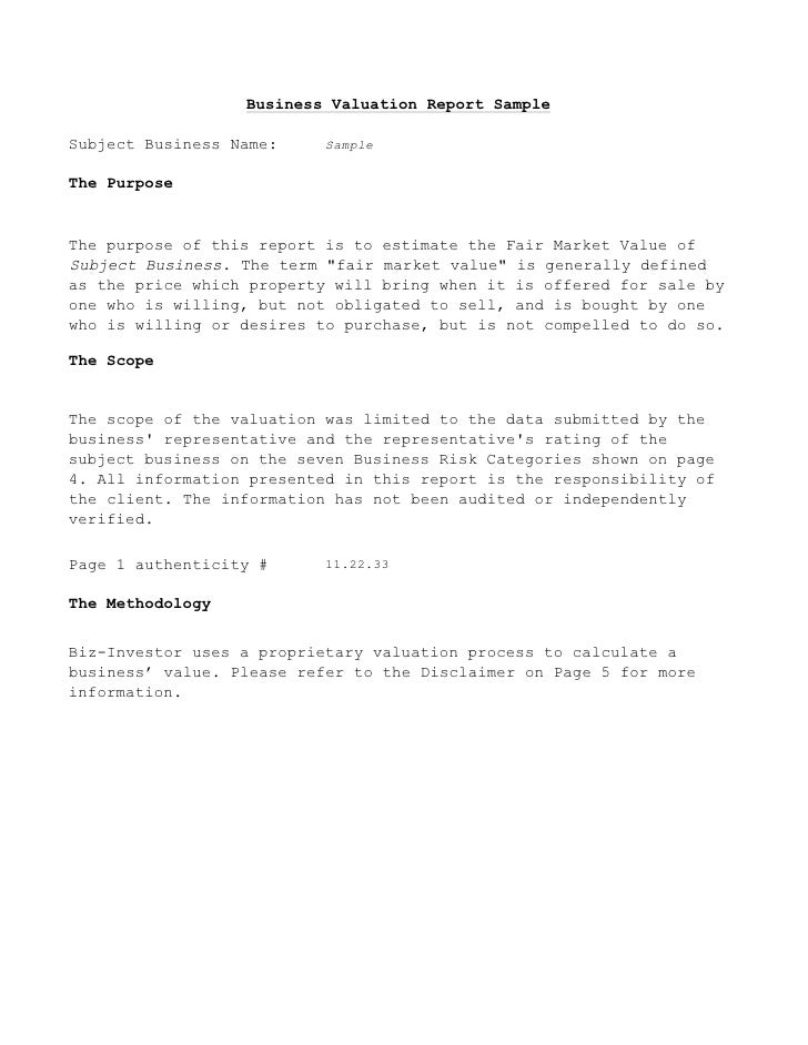 Business Valuation Report Template