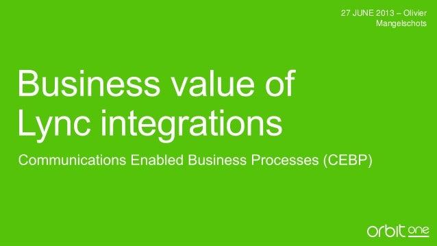 Business value of Lync integrations