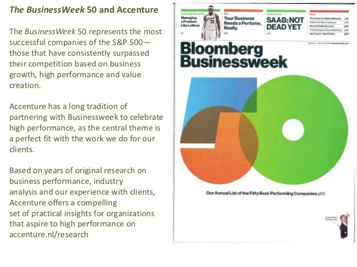 The BusinessWeek 50 and Accenture<br />The BusinessWeek 50 represents the most successful companies of the S&P 500—those t...