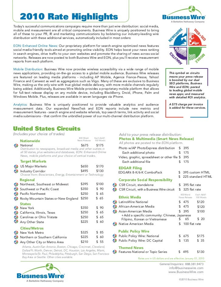 Business wire 2010 rate highlights