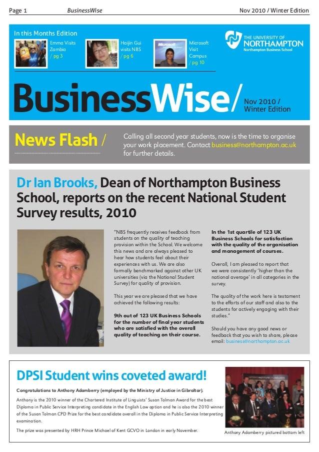 Businesswise/Nov 2010 / Winter Edition Page 1 			 BusinessWise 					 		 Nov 2010 / Winter Edition In this Months Edition M...