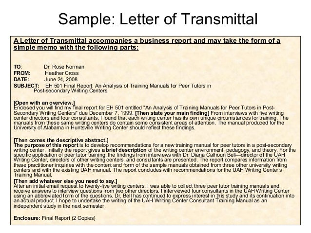 The Letter Memo Of Transmittal Is Addressed To